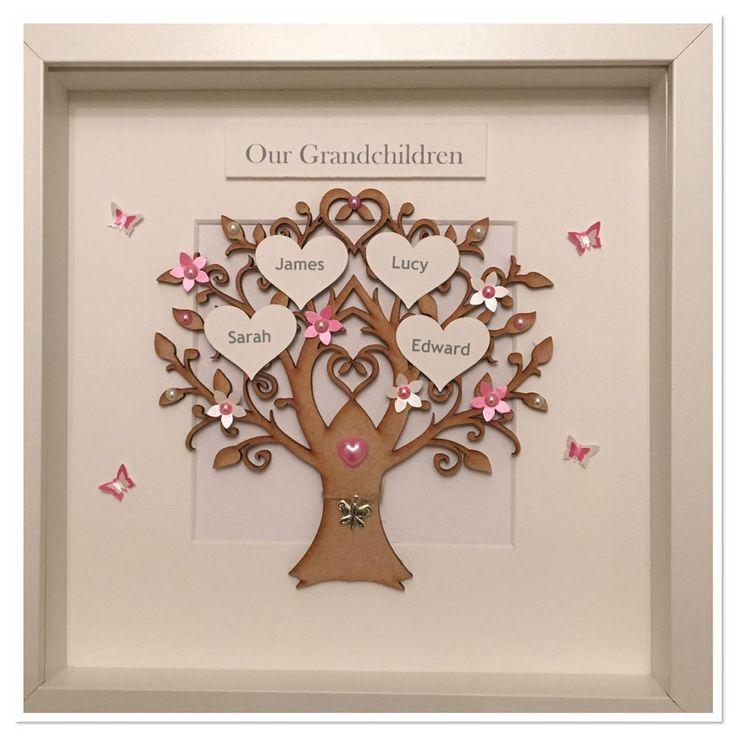 Personalised Grandchildren Family Tree 3D Box Frame Keepsake Love Colour Choice