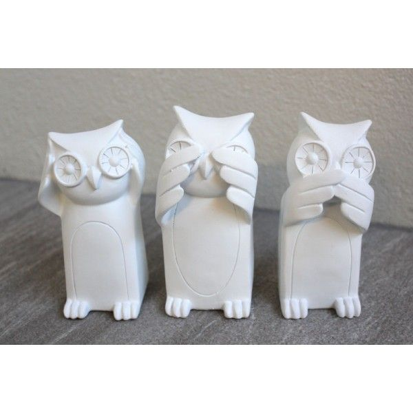 Three Wise Owls - White Homewares Online