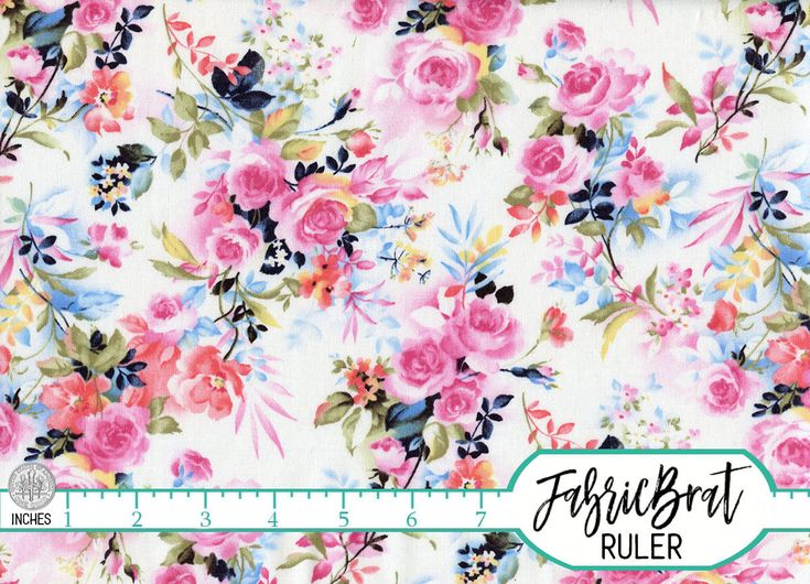 WATERCOLOR FLORAL Fabric By The Yard Fat Quarter Navy Blue Pink Roses Shabby