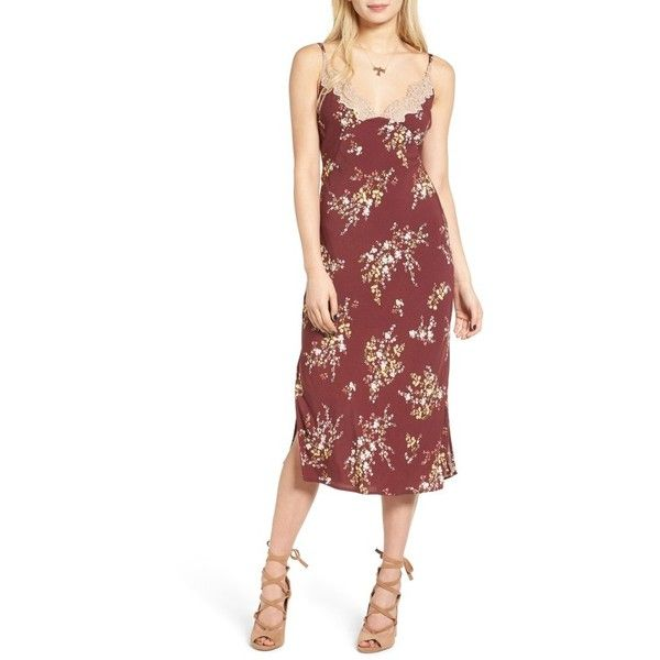 Women's Astr Iris Midi Dress ($98) ❤ liked on Polyvore featuring dresses, burgundy multi floral, night out dresses, midi party dresses, burgundy midi dress, burgundy red dress and midi dress