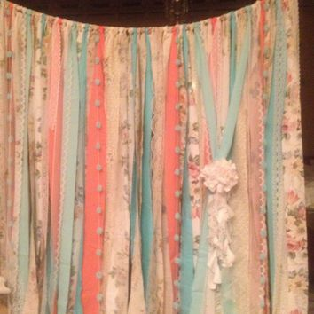 Mint Coral Aqua Rag Curtain Ribbon Garland Lace and Fabric 3 x 7 foot long Curtains
