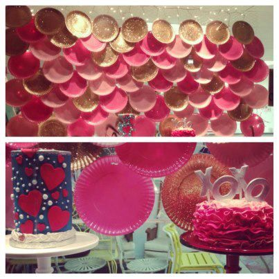 Pink And Gold Plates For A Cute Valentines Day Window Display Do Blue For Water Or Scales