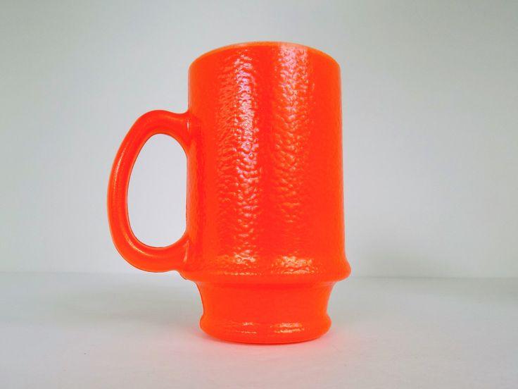 Textured, Bright Orange, Milk Glass Mug ~ Orange Peel Texture ~ Pedestal Base Mug ~ 1960s by MementoMinefield on Etsy
