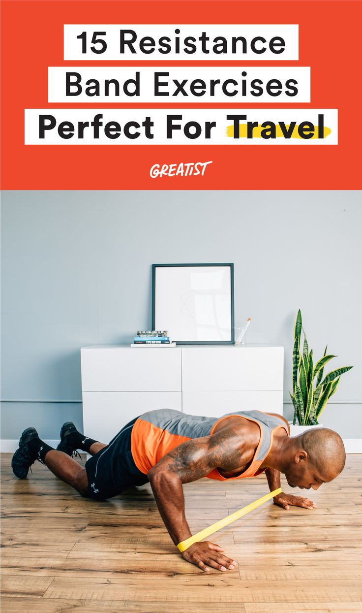 Hit the road without missing a workout. #resistance #band #exercises http://greatist.com/move/resistance-band-exercises-to-do-on-vacation