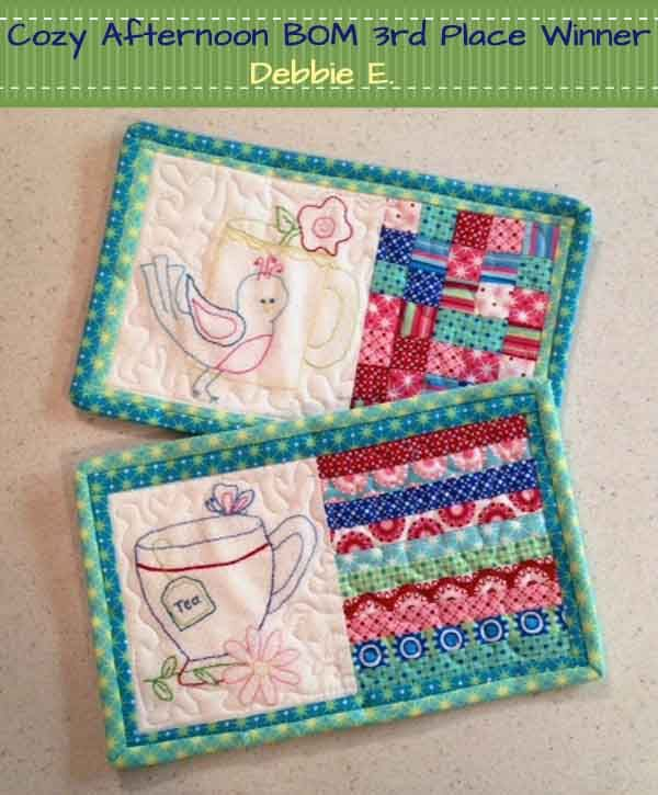 Cozy Afternoon Block of the Month , another cute idea using embroidery and piecing!  Winner-Third Place