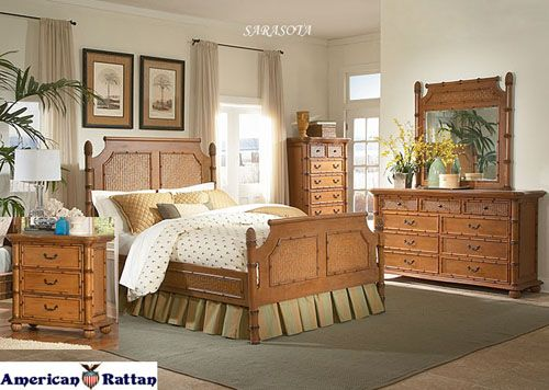 Sarasota Poster Style Wicker Bedroom Suite | Capris Furniture Bedroom Series 740