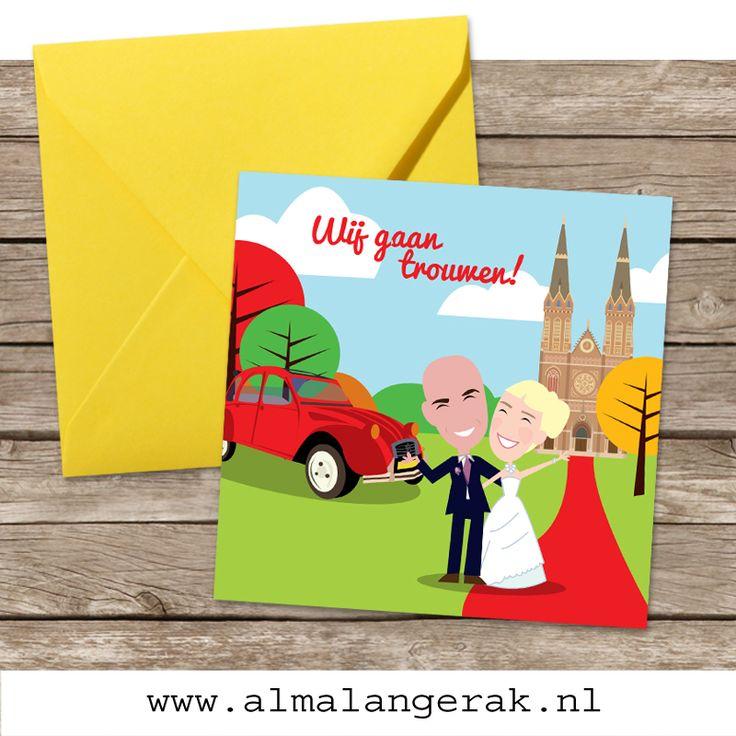 """#trouwkaarten voor Léon en Annet die #trouwen in #tilburg   in de sint Jozefkerk  #heuvelkerk  Als #trouwauto een rode Citroën 2CV#, oftewel een """"lelijke"""" #eend, die ook aan de voorkant van de #trouwuitnodigingen staat afgebeeld.  Aan de binnenkant een Tilburgse #skyline   #custom #maatwerk #cartoon #bruidspaar #herfst #uitnodigingen"""