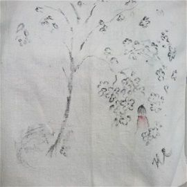 """At folk art exhibition in Jurva, Finland. Ink painting on recycled old linen cloth. """"As a sapling in your garden"""" by Hannele Rajala."""