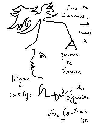 Jean Cocteau (1889-1963) Dessin à la gloire de Saint Cyr.