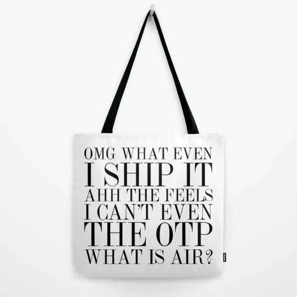Fangirling is so Vogue Tote Bag ❤ liked on Polyvore featuring bags, handbags, tote bags, tote bag purse, white purse, handbags tote bags, white tote purse and white tote