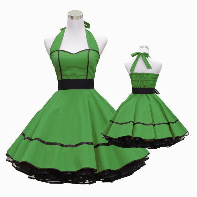 Entdecke lässige und festliche Kleider: 50er Jahre Kleid grün schwarz nach Maß  ugrüns 04 made by Lolablossom via DaWanda.com
