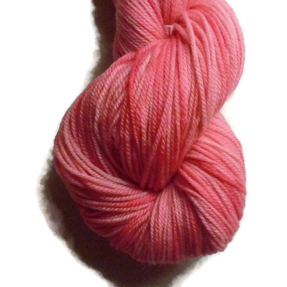 """Pastel Margenta Pink Hand Dyed Superwash Merino Wool DK Weight Yarn, """"Sweeter than Candy"""", 3-ply, For Knitting, Crochet and Felting"""