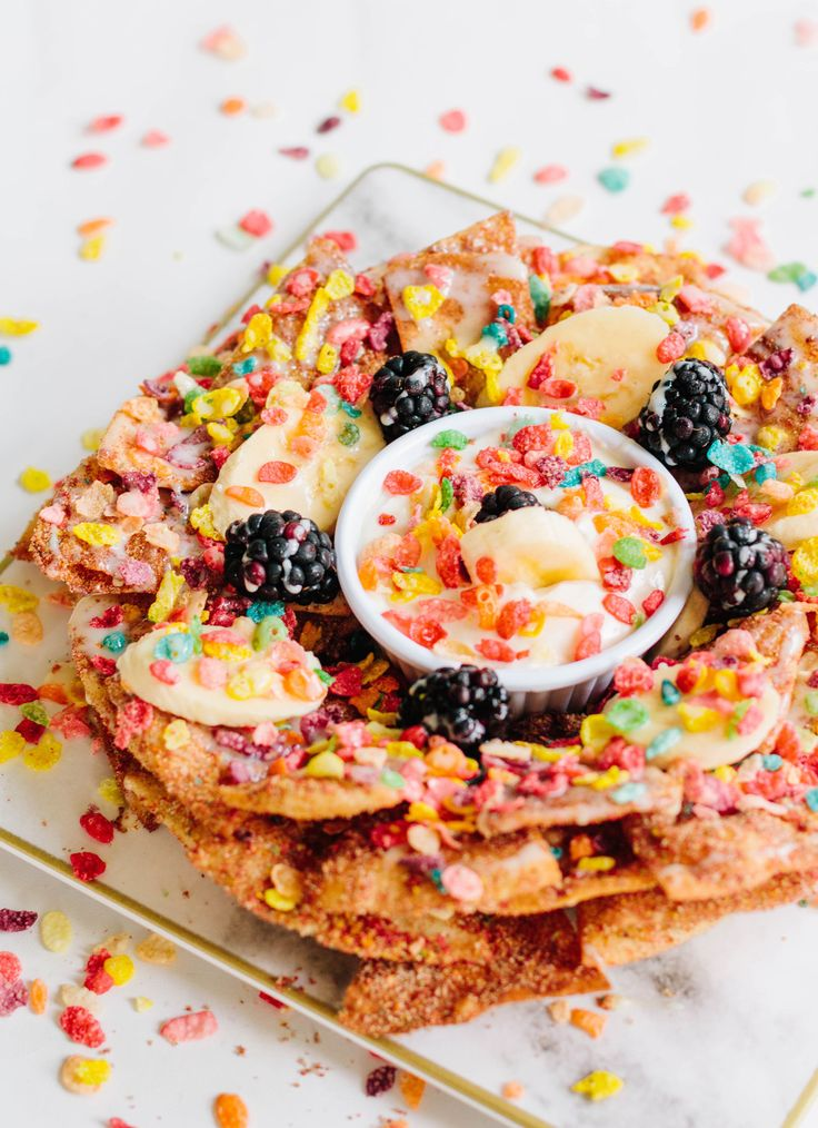 Pebbles Cereal Dessert Nachos for National Cereal Day #ad #PebblesCereal
