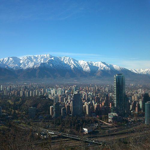 Santiago,Chile , y cordillera de los andes