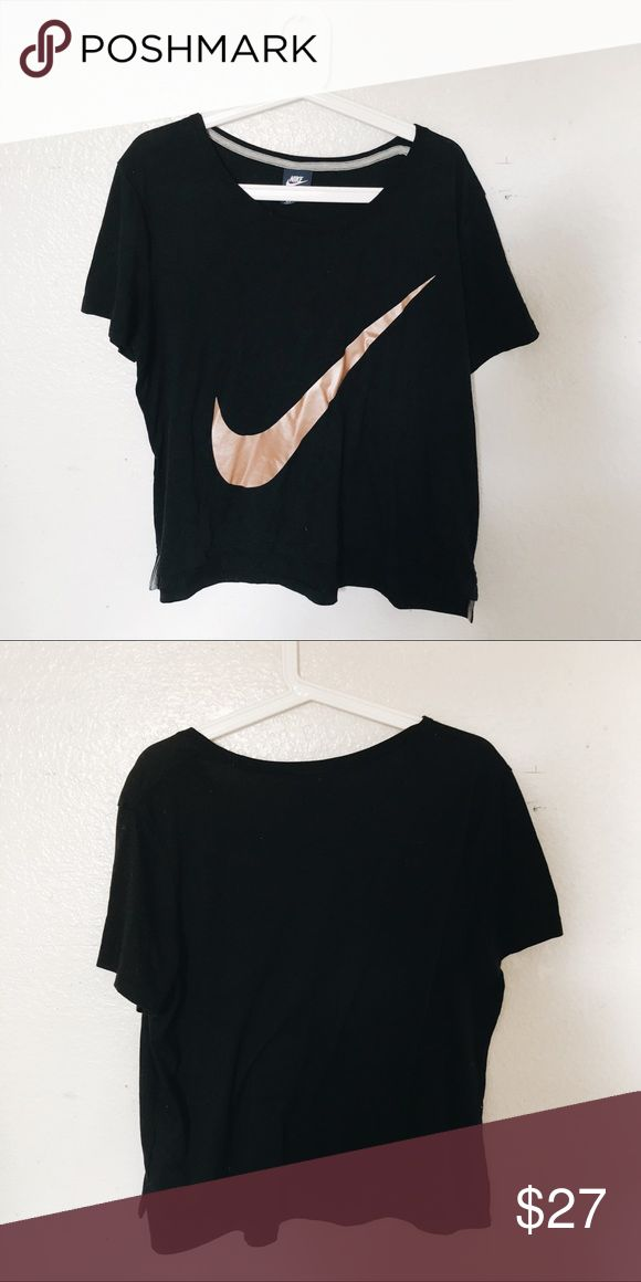Nike Swoosh Metallic Shirt Gently worn. Metallic bronze swoosh. Women's size medium. Great condition!   ~open to offers~ Nike Tops Tees - Short Sleeve
