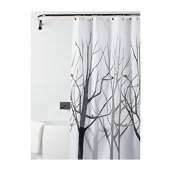 Simons Maison Modern forest shower curtain ($17) ❤ liked on Polyvore featuring home, bed & bath, bath, shower curtains, bird shower curtains and modern shower curtains
