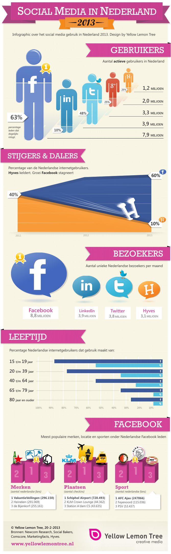 Social Media in Nederland 2013 [infographic] Slim om te lezen voor webwinkeliers die hun eigen marketing aanpakken!