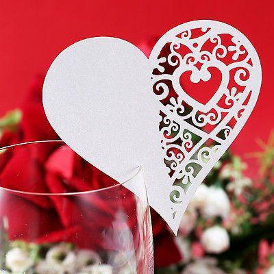 50/20 x Carte de verre Porte Nom Coeur nacré mariage baptême banquet cérémonie