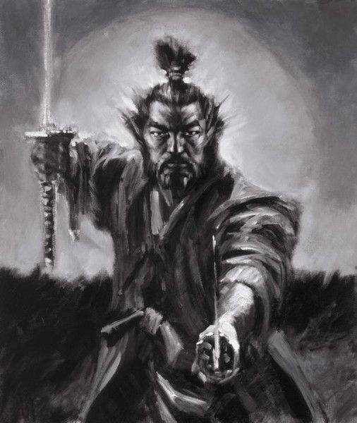 Fabian Perez - Samurai (Black & White) - Fine Art