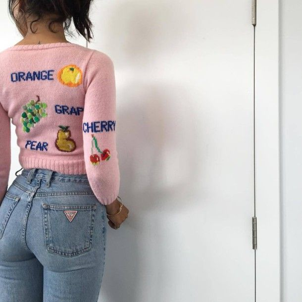 Sweater: light pink cute pink fruits jeans high waisted jeans vintage dope pink knitted cherry