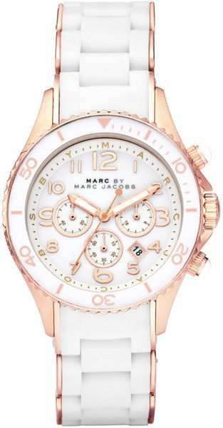 MARC BY MARC JACOBS  White Stainless Steel Rose Gold Round Watch