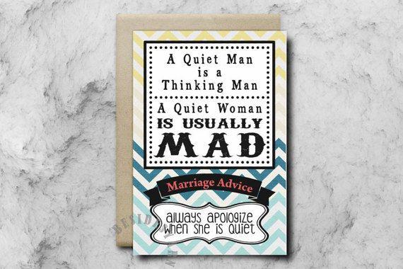 Funny Wedding Card Marriage Wedding Advice Card by BesidesYarn