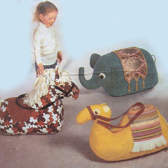 vintage 4351 Style Set of Super Size FLOOR TOYS sewing pattern (elephant, camel & horse) (70s)