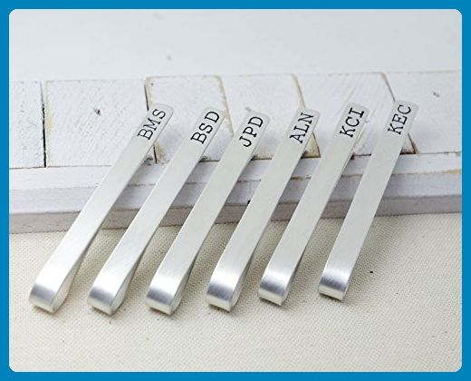 Groomsmen Set Sterling Silver Tie Clips Long - Personalized Wedding Bridal Jewelry Set - Gift for Groom Best Man - Hand Stamped Tie Bars - Groom cufflinks and tie clips (*Amazon Partner-Link)