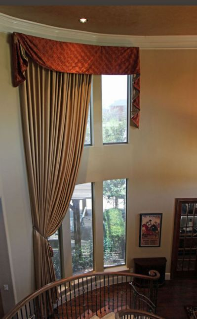 Dramatic 2 Story Window Treatments Dresses This Slightly Bowed In A Formal Dining Room