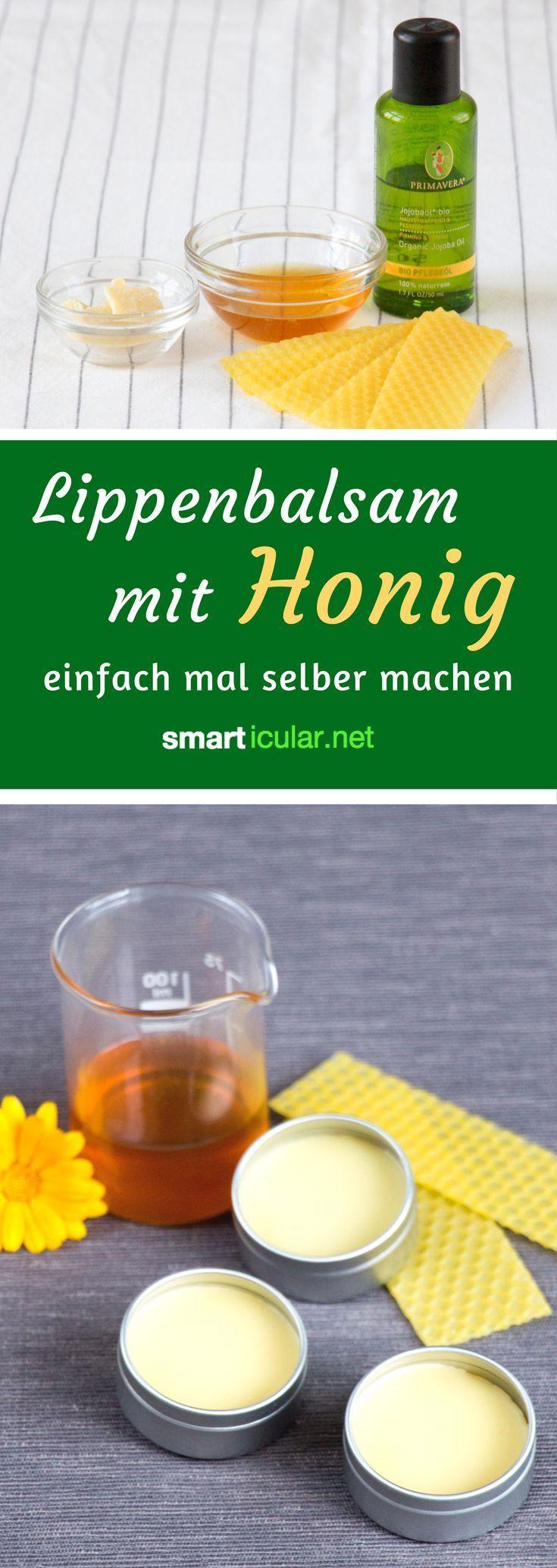 Make salutary honey-lip balm by yourself  -  Hautpflege-Rezepte