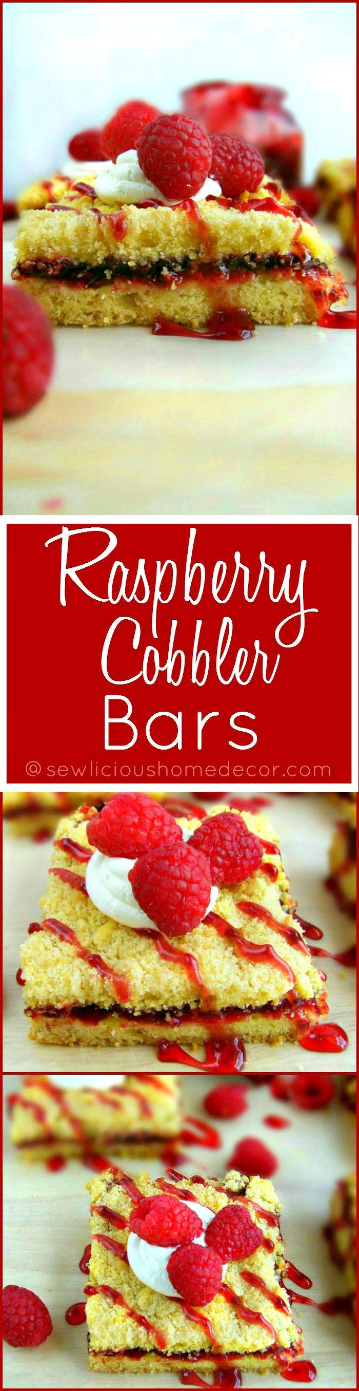 Best Quick and Easy Raspberry Cobbler Bars made with a yellow cake mix sewlicioushomedecor.com