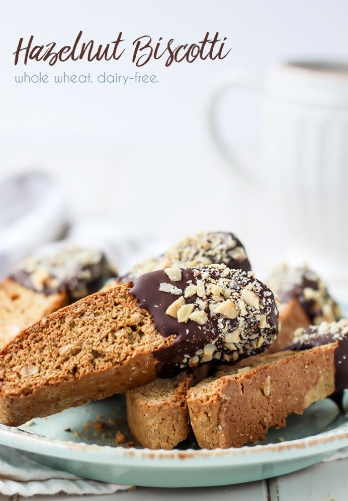 This Whole Wheat Chocolate Dipped Hazelnut Biscotti pairs great with your favorite cuppa. Dairy-free friendly!