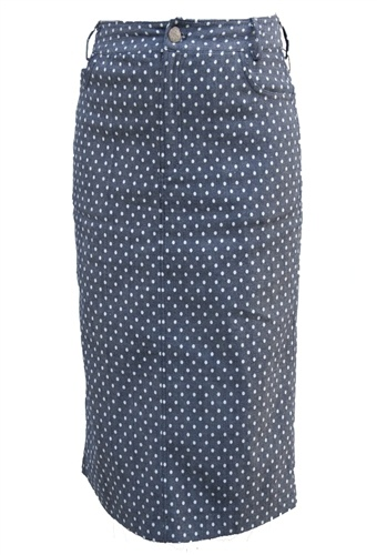 Polka Dot Denim Knee-length Skirt by beautiful one modest