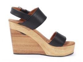 Sandalias de cuero y plataforma de madera $64.99