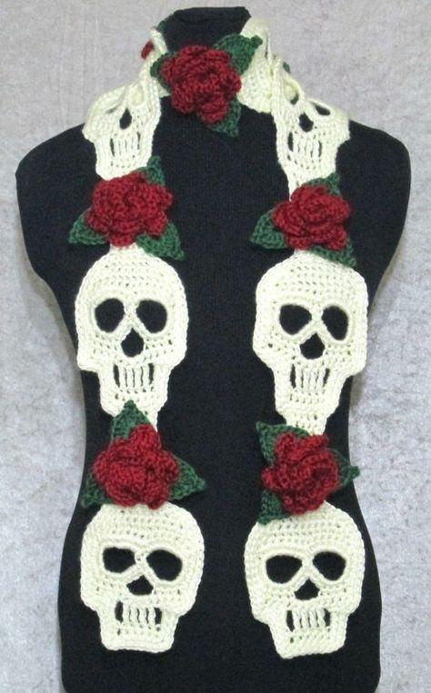 Crochet Skull Scarf Pattern Crochet skull Crochet skull