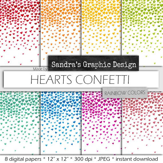 Hearts digital paper with HEARTS CONFETTI  in rainbow colors for scrapbooking, cards, etc (728)