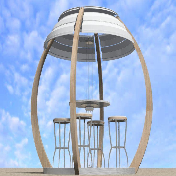 """ovo 07 il gazebo da spiaggia di officina del design progettato per il contest """"oasi in giardino 2007"""" di Pircher"""
