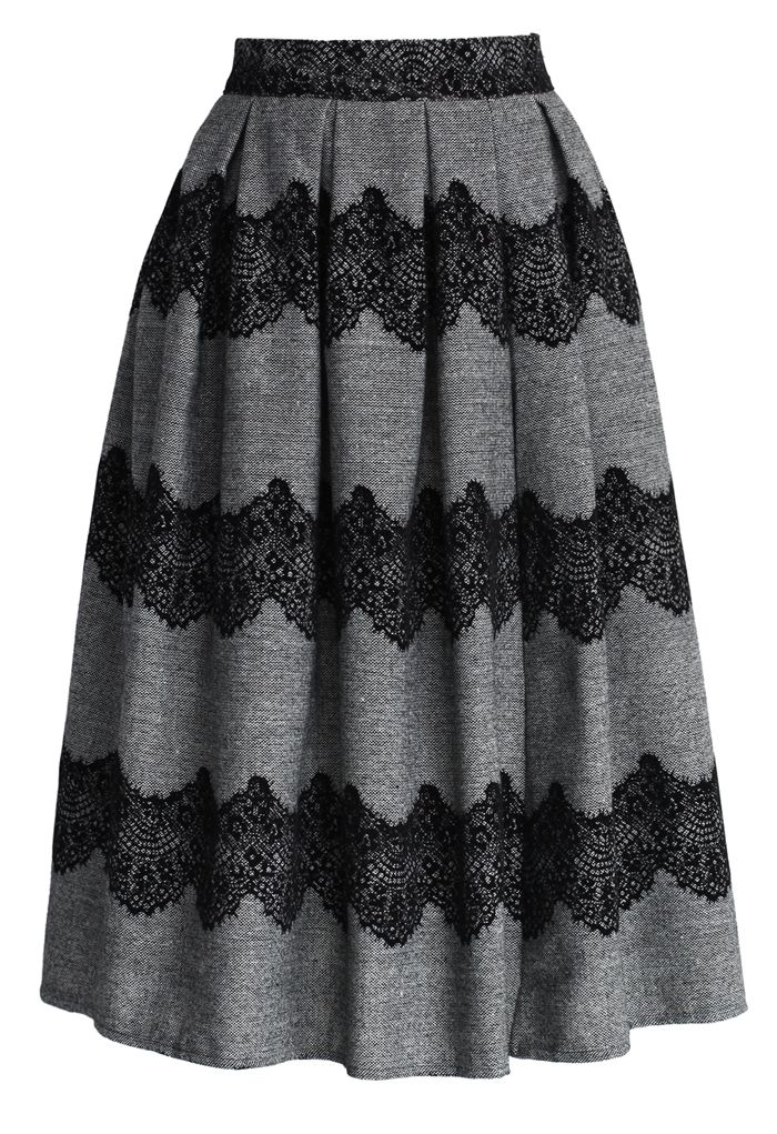 Lace Trimmed Pleated Twill Midi Skirt - Skirt Buy 1 Get 1 HALF - Skirt - Bottoms - Retro, Indie and Unique Fashion