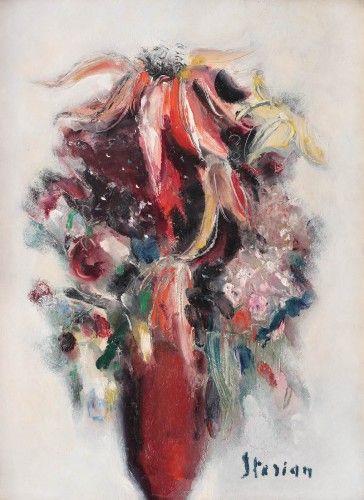 Margareta Sterian - Flowers in red vase