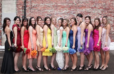 Have your Bridesmaids all wear a different coloured dress!