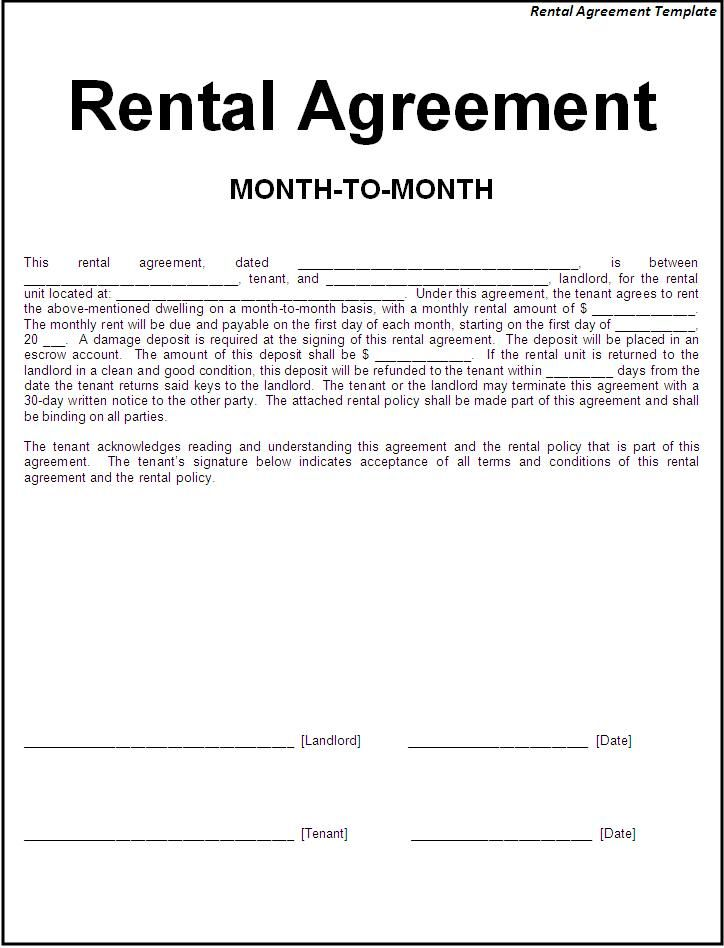 Monthly Rental Agreement Form