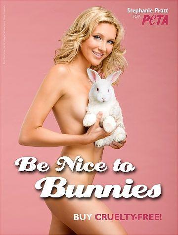 Stephanie Pratt  strips for PETA.