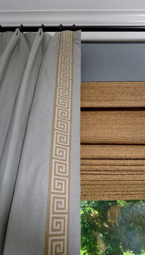 Dining room remodel, interior designer: Carla Aston #Kravet #greekkey trim #wovenwoods