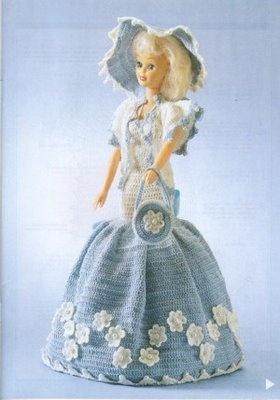 vestido celeste y blanco,crochet - labores de esther. todo para barbie