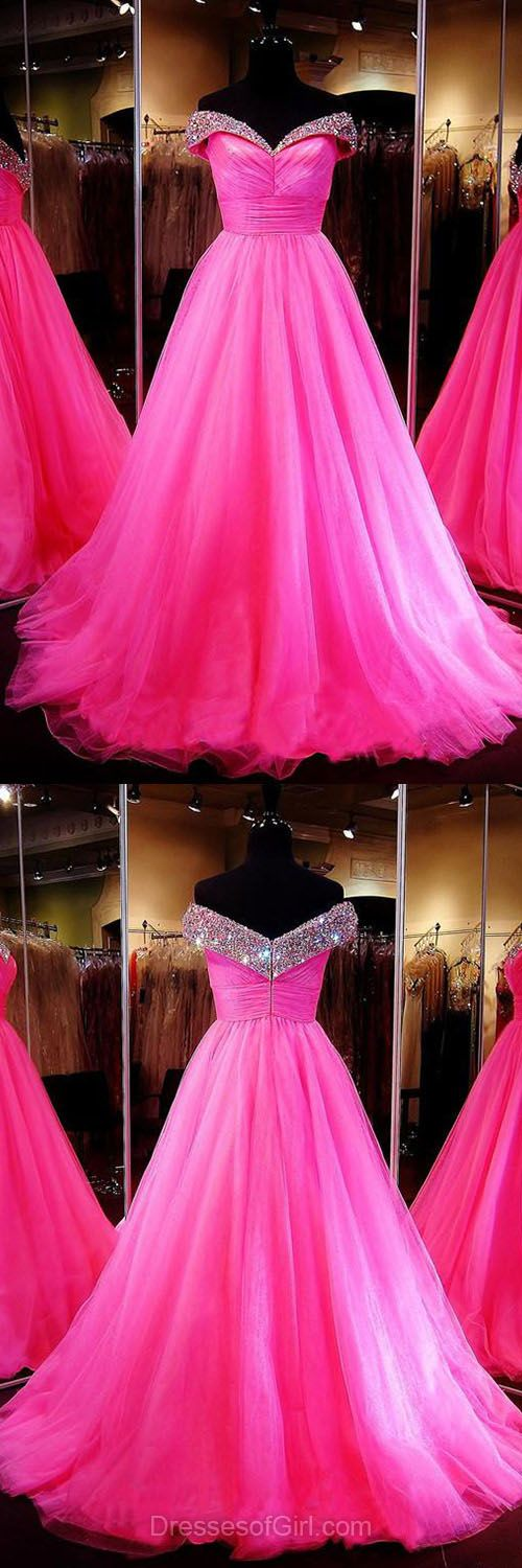 Pink Quinceanera Dresses, Ball Gown Formal Dresses, Off-the-shoulder Tulle Party Dresses, Amazing Long Prom Dresses