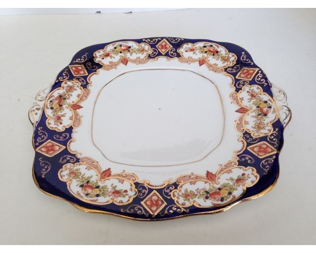 (A) Royal Albert Heirloom Imari Square Handled Cake Platter