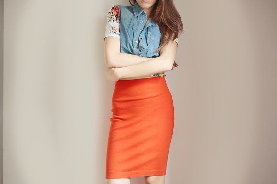 Orange pencil skirt Benetton Summer party Girl skirt Bright orange Vintage knee length skirt Orange is the new black