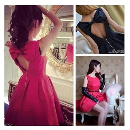 D5812 New 2014 Spring Backless Big Bow Sexy Dress Women Free Shipping Hot Selling Korean Black Red Slim Girl Dress High Quality $13.68