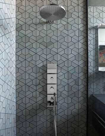 Heath Ceramics Dwell pattern tile (half hex) [Christina's House - design: Christina Zamora, photo: Jeffery Cross]