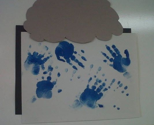 Spring is almost here! A very young KinderCare toddler (with the help of a teacher) created their own rainstorm using hand-prints. Art project age group: Older infants, toddlers, and preschoolers